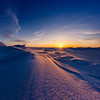 Sunset over the frozen Bering Sea, Alaska